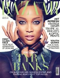 Tyra Banks Gets Fierce for Harpers Bazaar,Singapore Jan13