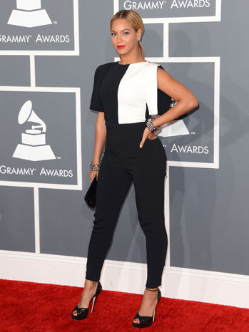 Beyonce, opted for a simple black-and-white Osman jumpsuit, with a Swarovski clutch.