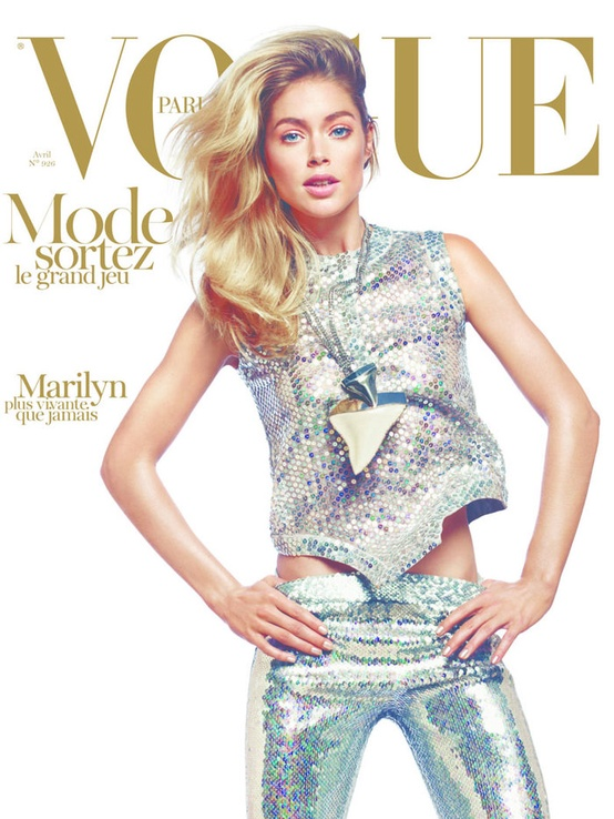 Doutzen Kroes in sequins for  Vogue Paris April 2012 cover by David Sims