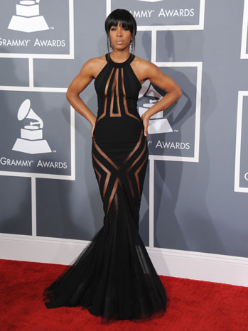 Kelly Rowland looks smoking in a black Georges Chakras gown