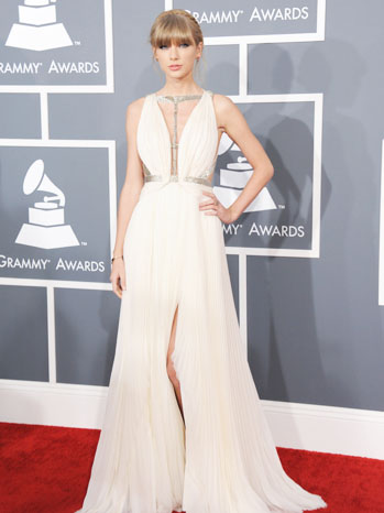 Taylor Swift, wore a white J. Mendel gown