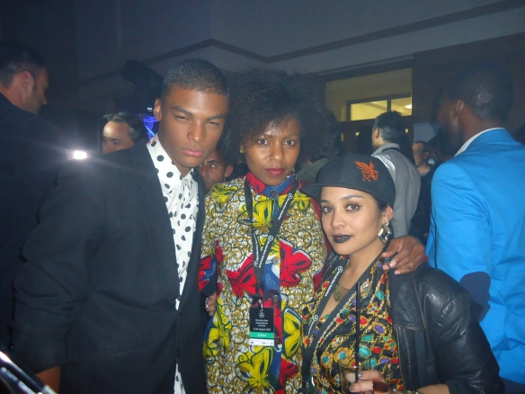 The fab Melissa Joy Ohlsson and I, with model Eugen, who walked at the David Tlale show. He is jetting off to Europe soon. His features are amazing.