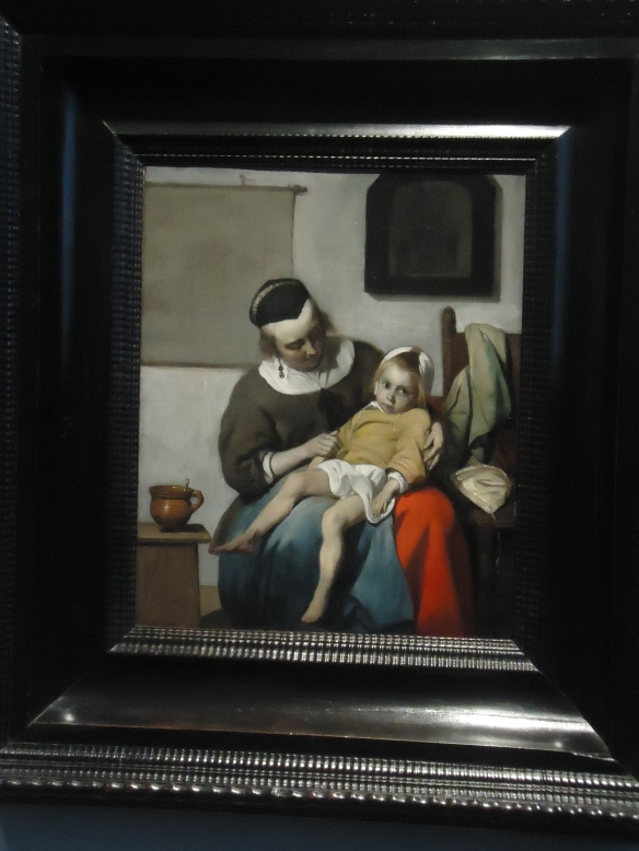 The Sick Child, Gabriël Metsu. In 1663 the plague raged throughout Amsterdam, killing one in ten citizens. Dating from around this time is Metsu's poignant portrayal of a sick child, rendered in powerful, bright colours against a grey background. The scene is reminiscent of a pieta, a representation of the Virgin Mary holding her son's dead body in her lap.