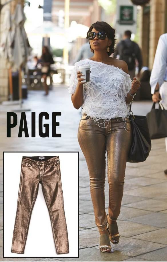 Terry Pheto wearing Paige Denim