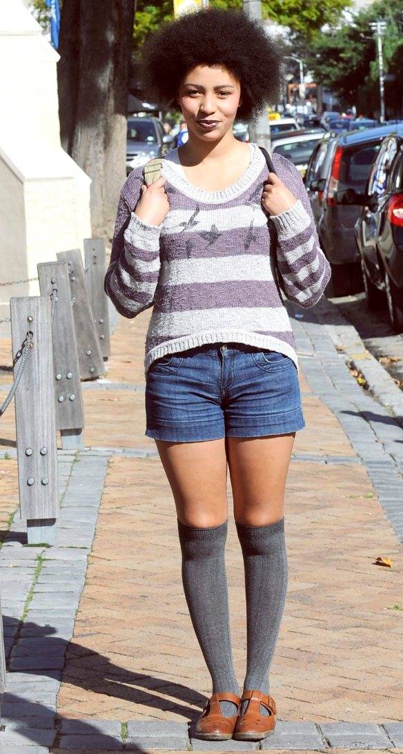 "Lydia Levendal, 21, from Gardens, wears denim shorts from a Cape Town vintage shop. ""I prefer jeans from vintage shops because they are usually better quality, cheaper."""