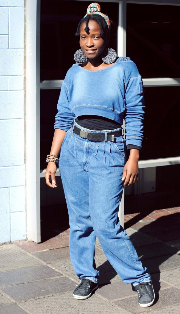 """Lerato Mapoga, 24, of Observatory, is wearing Barrington Jeans, which she inherited from her mother. """"Most of my jeans are vintage as I collect them from my mother's closet. """"I have 10 to 15 (pairs of) jeans, of which five are denim overalls."""""""