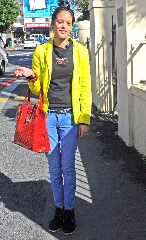 """Jade Adams, 19, of Mitchells Plain wears skinny jeans from LEGiT. """"I was in a hurry this morning and just threw everything on. A lot of people are wearing black denim now. I'm in love with this denim jacket with a hoodie I saw the other day – I want that for winter."""""""