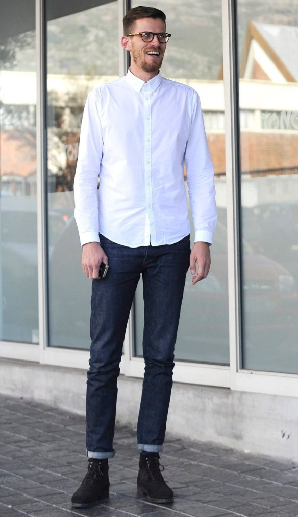 """Arnaldo O'Shea, 29, of Green Point, wears dark jeans from French brand APC. """"They are made of raw Japanese cotton and you are not suppose to wash them for a long time, to maintain their look."""""""