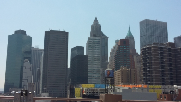The view of the city from the Brooklyn Bridge
